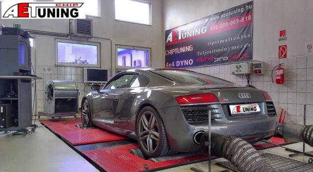 Audi R8 5.2 FSI Plus 610Le chiptuning motoroptimalizálás teljesítménymérő fékpadon garanciával
